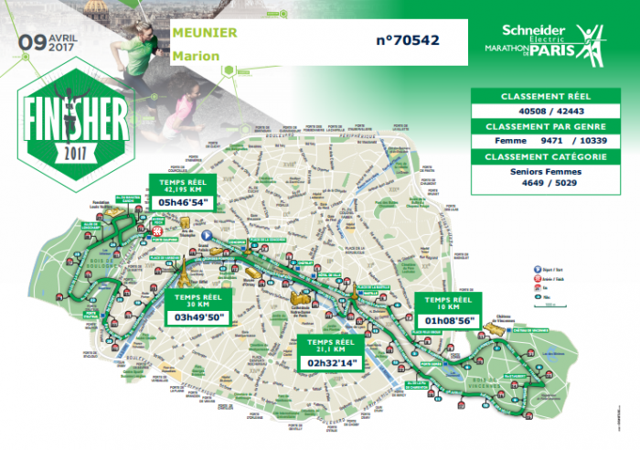 Parcours marion meunier finisher marathon de paris 2017