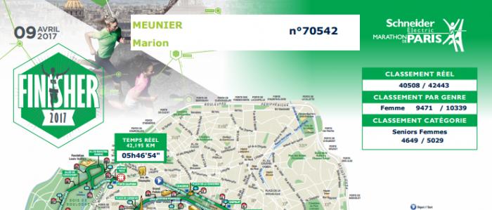 Parcours marion meunier finisher marathon de paris 2017